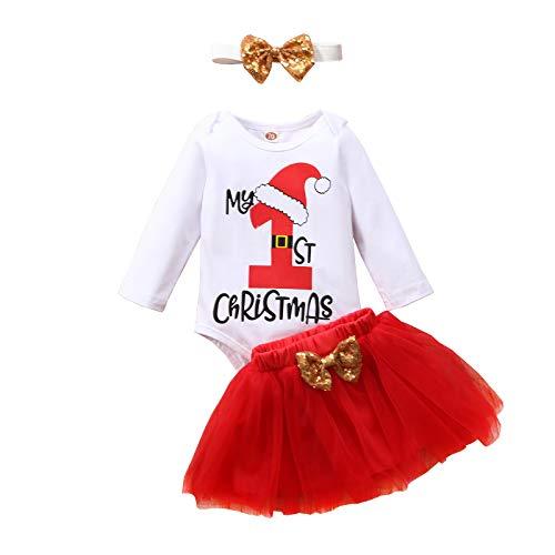 Geagodelia - Conjunto de ropa de bebé para Navidad, ropa de bebé, ropa de Navidad, body de manga larga + falda de tul para recién nacidos Color blanco. 6-12 Meses