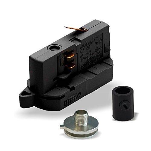 MULTI-adapter Universal Adapter GA69 für 3-Phasen Stromschienen inkl. Alunippel und Zugentlaster als komplett SET zur Leuchtenabhängung | versch. Ausführungen. (Schwarz)
