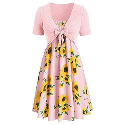 TRIGLICOLEUM Sommerkleider für Frauen Midi-Kleid mit Sonnenblumendruck Patchwork Empire-Kleid Kurzärmliger Schal-Top-Anzug (Pink, XL)
