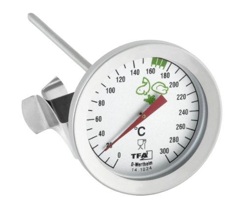 TFA Dostmann Analoges Fettthermometer, aus Edelstahl, praktischer Küchenhelfer, optimale Frittiertemperatur