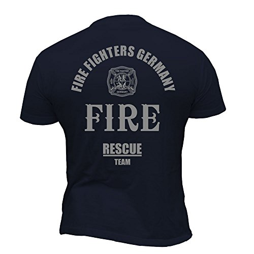 Rescue Point Firefighter Fireman Feuerwehr Herren T-Shirt KF3DE (Dunkelblau, XXL)