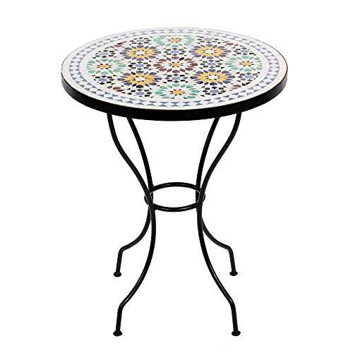Albena Marokko Galerie Marokkaanse mozaïektafel 60 cm rond tuintafel bistrotafel terrastafel tegeltafel Mediterrane tafel Lisu wit/blauw/bont