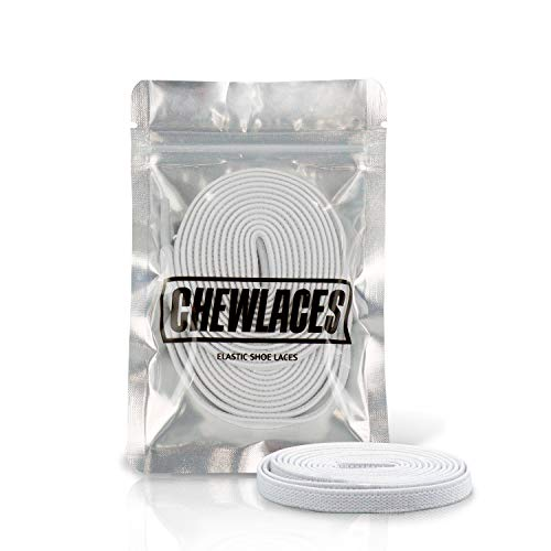 """CHEWLACES   Elastic Shoelaces for Sneakers   Flat Stretch Shoelaces   No Tie Shoelaces for High Top Sneakers   White 63"""" Inches"""