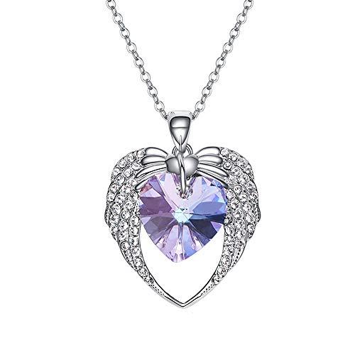 NIMUIL Damen Legierung Halsketten, Blau Kristall Von Swarovski mit Herz Kettenanhänger Kette, Frauen Mädchen, Purple