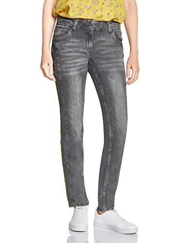 CECIL Damen Tapered Jeans Scarlett, Mid Grey Used Wash, 34W / 30L