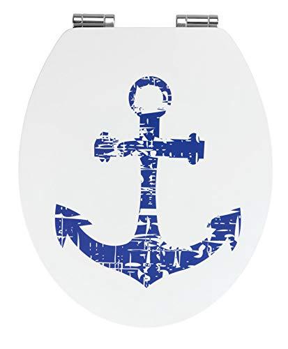 WENKO Premium WC-Sitz Shore, Toilettensitz mit Absenkautomatik, WC-Deckel mit rostfreier Befestigung, MDF, Weiß-Blau