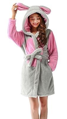 Nicetage Women's Animal Hooded Bathrobe Soft Warm Plush Robes for Women