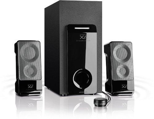 Speedlink Gravity XE aktives 2.1 Lautsprechersystem (25,5 Watt RMS Gesamtleistung, Tischfernbedienung, Subwoofer mit Holzgehäuse)