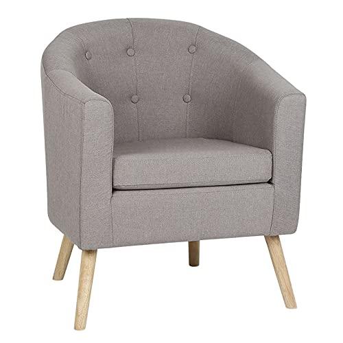 sillón de salón, butacas de Salon, sillón, Superficie de Lino + Patas de Madera Maciza, Suave y cómodo, Resistente al Desgaste, Estilo de diseño Elegante (B)