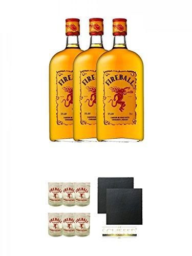 Fireball Whisky Zimt Likör Kanada 3 x 0,7 Liter + Fireball Gläser mit Schriftzug 6 Stück + Schiefer Glasuntersetzer eckig ca. 9,5 cm Ø 2 Stück
