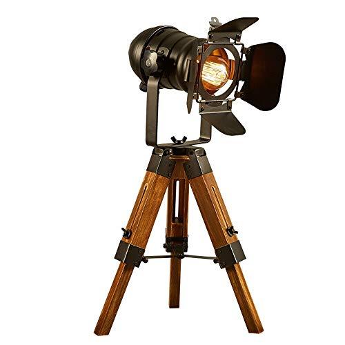 Retro Tripod Stehlampe Studiolampe Nachttischlampe Holzstativ Verstellbare Tischlampe Antike Stativ Holzbeine E27