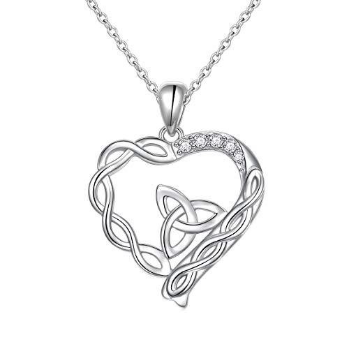 Sterling Silver Good Luck Irish Celtic Knot Love Knot Love Heart Pendant Necklace for Women Girls Christmas Birthday Gift