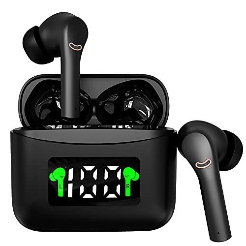 ANC搭載 完全ワイヤレスイヤホン Bluetooth5.2 ANCノイズキャンセリング PSE認証済 日本語説明書付 ブルートゥース イヤホン マイク付き 自動ペアリング 長時間 通話 IPX5防水 AAC 両耳 片耳 Android iPhone対応 (ブラック)