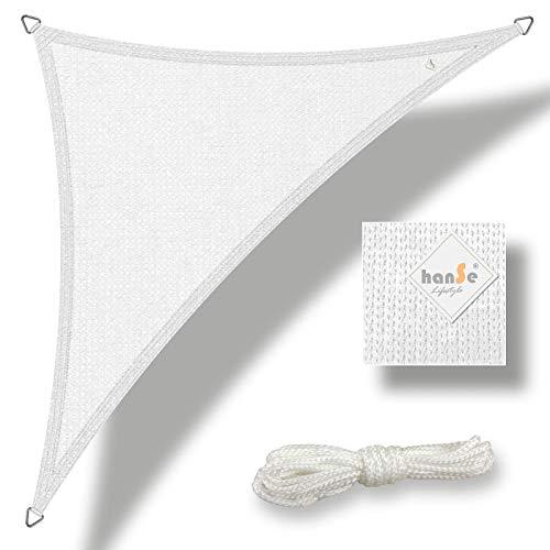 hanSe® Marken Sonnensegel Sonnenschutz Wetterschutz Wetterbeständig HDPE Gewebe UV-Schutz Dreieck 4x4x4 m Weiss