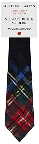 I Luv Ltd Garçon Tout Cravate en Laine Tissé et Fabriqué en Ecosse à Stewart Black Modern Tartan