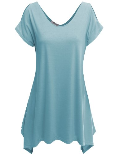 Doublju Womens Short Sleeve Cut-Out Shoulder Tunic Blouse Top SKYBLUE MEDIUM