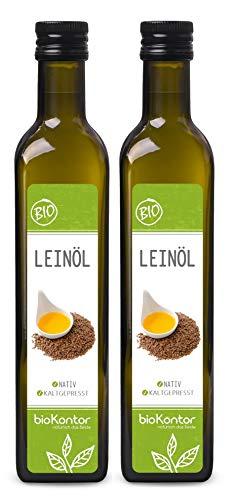 Leinöl BIO 2x500ml (1000 ml) I nativ und kaltgepresst I enthält Omega-3-Fettsäuren I mühlenfrisch vom Hersteller bioKontor