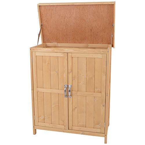 Outsunny Armadio da Esterno Ripostiglio da Giardino a 2 Ripiani Porta Attrezzi con 2 Ante Legno 74 × 43 × 88cm