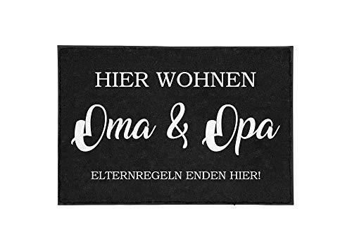TassenTicker - Fußmatte mit Spruch - Hier wohnen Oma & Opa. Elternregeln Enden Hier! - lustig - innen & außen - waschbar - Geschenkidee - Großeltern - Großmutter - Großvater - Dekoration