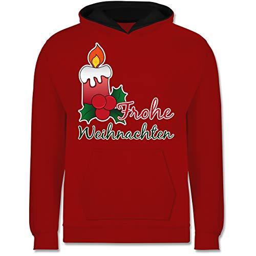 Shirtracer Weihnachten Kind - Frohe Weihnachten mit Kerze und Mistelzweig - 128 (7/8 Jahre) - Rot/Schwarz - Geschenk - JH003K - Kinder Kontrast Hoodie
