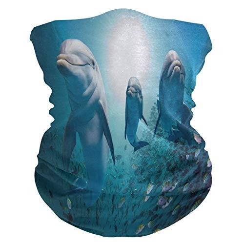 EU Dolphin Family Face Mask Bandana Droplet Dust Wind UV Sun, Neck Gaiter Tube Mask Headwear, Motorcycle Face Mask for Women Men Face Scarf