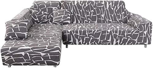 Fundas Sofa Elasticas Chaise Longue,Extraíbles y Lavables,Moderno Cubre Sofa Chaise Longue Universal Fundas Protectora para Sofa contra Polvo en Forma de L 2 Piezas(Gris,2 Plazas+3 Plazas)