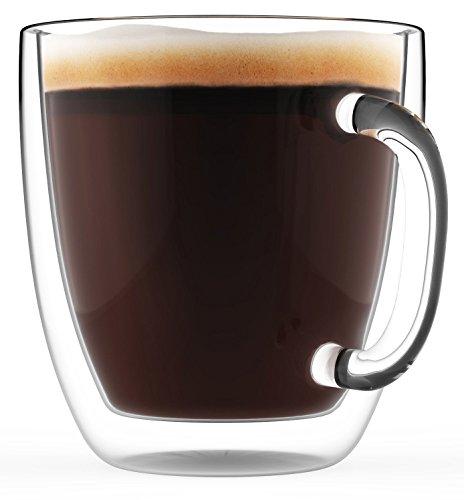 YWTT Tazas de café Grandes, Vidrio de Doble Pared, Juego de 2, 470 ml - Aptas para lavavajillas y microondas - Transparentes, únicas y aisladas con asa