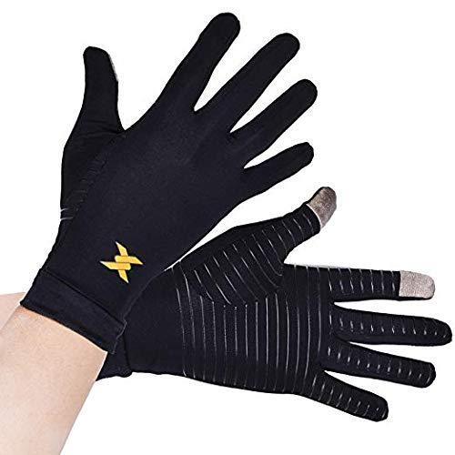 Thx4 Copper Infused Kompressionshandschuhe, Touchscreen-Vollfinger-Arthritis Handschuh zum Schreiben, Simsen, Karpaltunnel - Rutschfestes Silikongel für Frauen/Männer-M