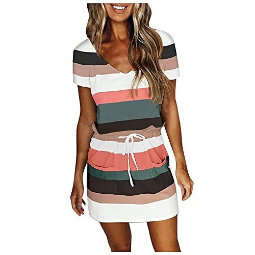 FOTBIMK Vestidos para mujer con cuello en V con cordón vestido de ling estampado retro vestido de playa con bolsillos