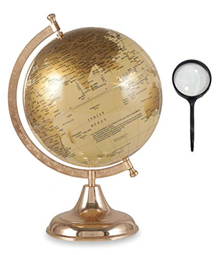 Educational Geographic World Globe with Free Magnifying Glass, Easy to Read, Decorative Earth Globe...