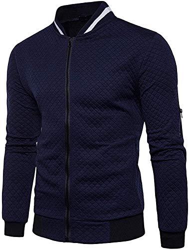 Veravant Sweat-Shirt Homme Manches Longues Pull Uni Zippé Bomber Blouson Veste Sport - Bleu Marine - Medium