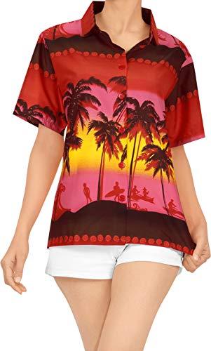 LA LEELA Camisa de Manga Corta de Vestir Ropa de Playa Hawaiano de la Blusa de la Parte Superior Cubren con Botones XXL Damas Blood Rojo_X46