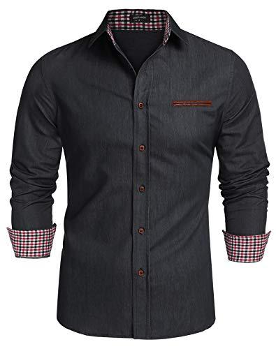 COOFANDY Jeanshemd Herren Denim Shirt Langarmhemd Cowboy-Style Freizeit Hemd männer Kent-Kragen Business Casual