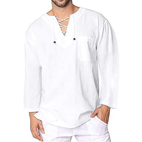 Celucke Leinenhemd Herren Langarmshirt Yoga Shirt Mittelalter Langarm V Ausschnitt mit Schnürung, Leinen Shirts Männer Vintage Freizeithemd Leichte Bequem Atmungsaktives (Weiß, XL)