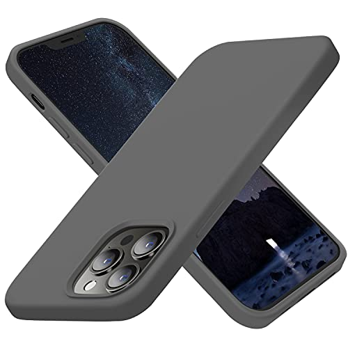 Cordking Designed for iPhone 13 Pro Case, Silicone Ultra Slim Shockproof Protective Phone Case with [Soft Anti-Scratch Microfiber Lining], 6.1 inch, Space Gray