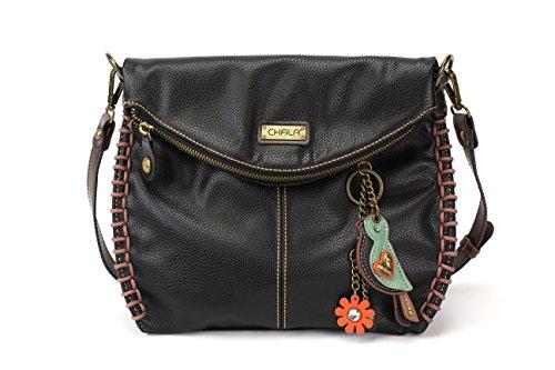 Chala Charming Black Crossbody Bag With Flap Top and Zipper or Shoulder Handbag (Mini Bird)