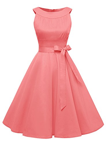 Timormode Damen Retro 50er Party Swing Brautjungfern Rockabilly Einfarbig Kleid 10408 S Koralle