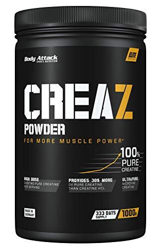 Body Attack CREAZ Powder - 1kg - 333 Portionen, 100% reinstes Kreatin Pulver (bis zu 30% mehr Reinheit) - vegan, Halal, mikrofein und hochdosiert für mehr Leistung und Muskelaufbau - Made in Germany