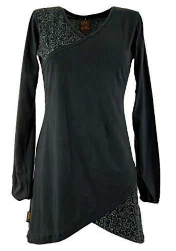 GURU SHOP Hippie Minikleid Chic, Tunika, Damen, Schwarz, Baumwolle, Size:XL (42), Kurze Kleider Alternative Bekleidung