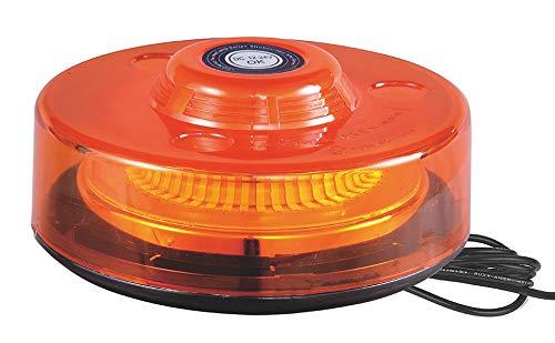 Rotativo Ámbar LED Extra Plano 48 LEDs Señalización Advertencia 12/24V - Homologado R65, 3 Funciones Flash Rotación Destello, Pirulo Tractor, Luz Emergencia Vehículos agrícolas, Base imán
