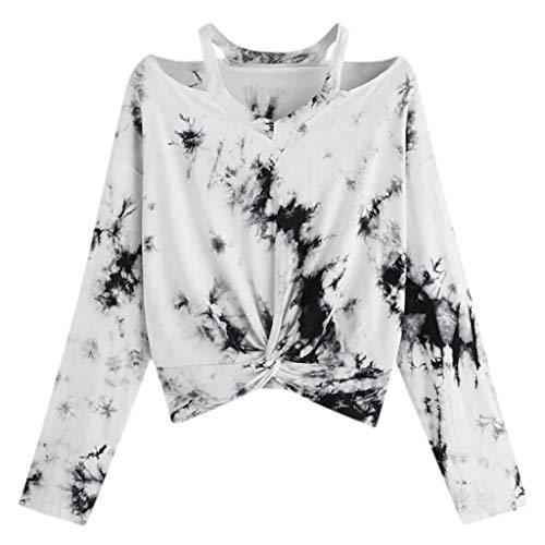 Lazzboy Frauen Farbverlauf Kontrast Farbe Gedruckt Langarm Top Hohlbluse Shirt Oberteile Teenager Mädchen Bluse Damen Stickerei Kurzarm T-Shirts Hemd Pullover(Weiß,M)
