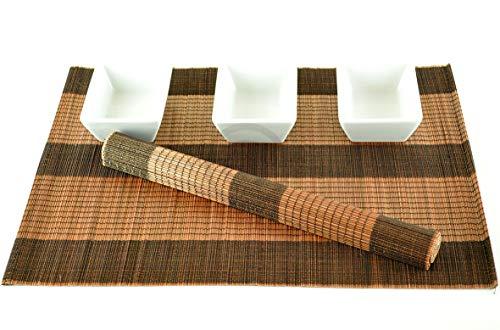 Tapis De Table En Bois De Bambou, Set De Table Fabirque' A La Main. Pack De 6, Couleurs Noir-Marron (P008)