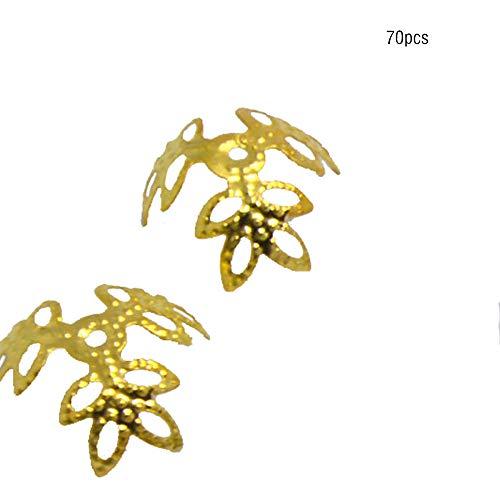 Vektenxi Blume Perlenkappen Metallperlen Spacer DIY Schmuckzubehör Kleeblatt Hut Filigrane Perlenkappen 70 Stück Gold Neu Freigegeben