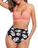 Voqeen Bikini Mujer Traje de Baño Retro con Halter Cuello Relleno Sujetador Push Up Braguitas de Cintura Alta con Pliegues BañAdores Ropa de Playas (Naranja, S)