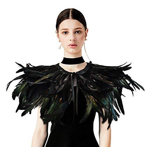 sigando Disfraz de cuervo de plumas naturales gótico Disfraz de cuervo maléfico