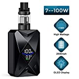 E Cigarette Starter Kit,Goblin 100W Cigarette électronique vape kit,E Cigs rechargeable de 2000 mAh,LED Mod,0,25 Ohm coil,No E Liquid, No Nicotine (Noir)