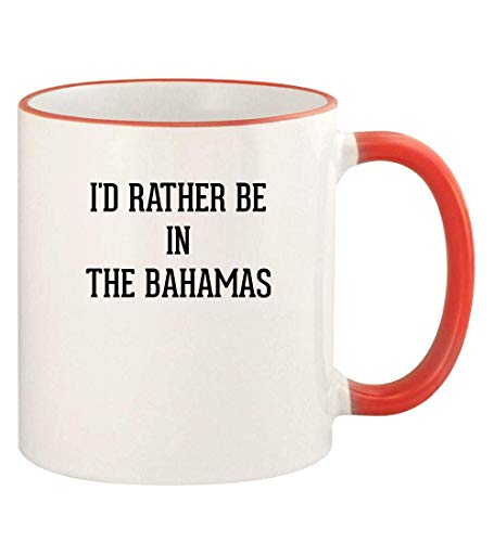 I'd Rather Be In THE BAHAMAS - 11oz Colored Rim and Handle Coffee Mug, Red