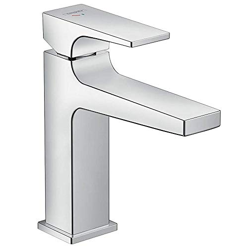 hansgrohe Wasserhahn Metropol CoolStart (Armatur mit Auslauf Höhe 110 mm und Push-Open Ablaufgarnitur) Chrom