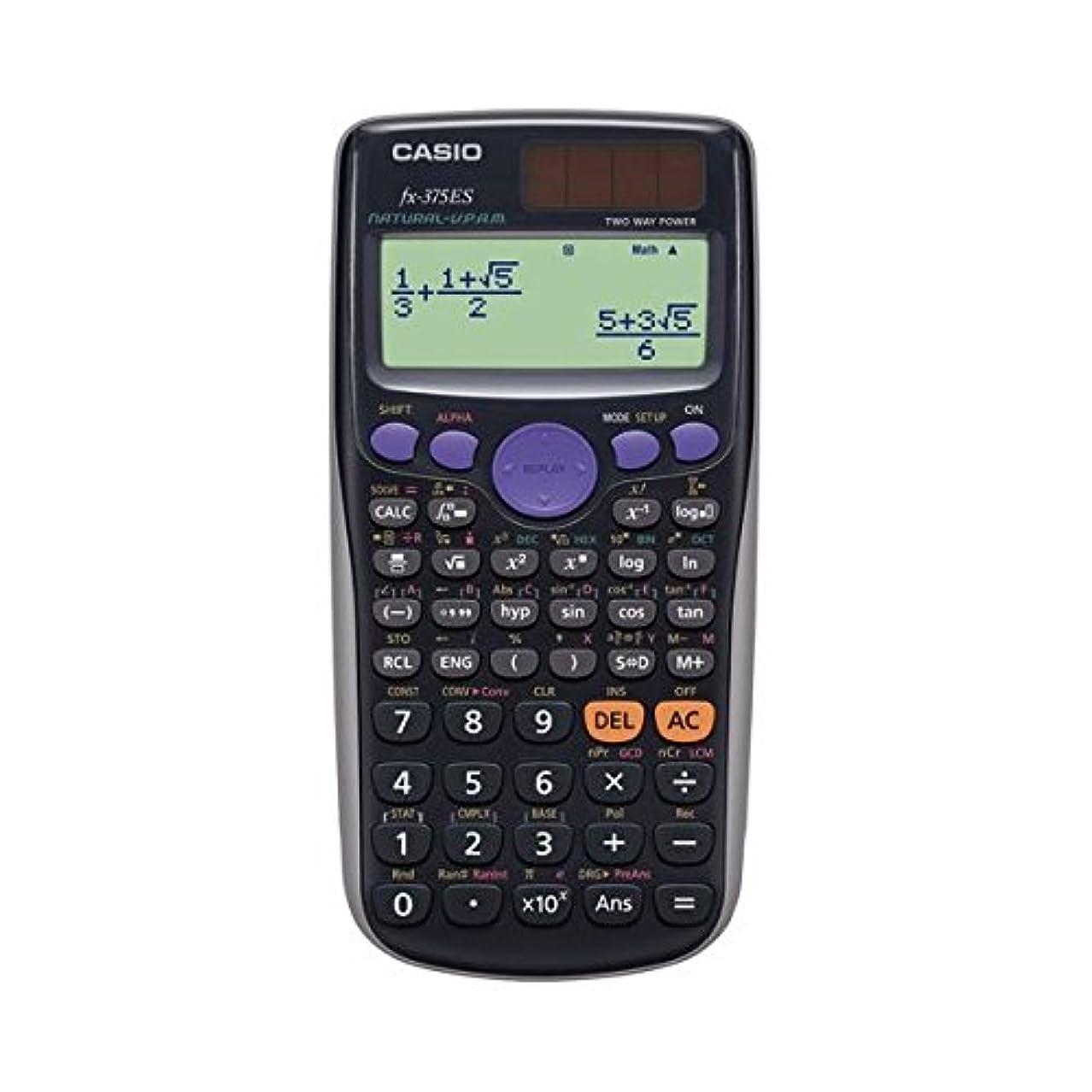 (まとめ) カシオ CASIO 関数電卓 10桁 ハードケース付 FX-375ES-N 1台 【×2セット】 ds-1581255