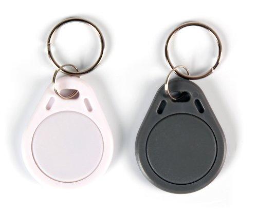 NFC Tag Anhänger, 40x32mm, NXP NFC Chip, 180 Byte, grau/weiß, optimal für Geräte-/ Profilsteuerung (WLAN, Bluetooth, Apps), kompatibel mit Allen NFC Smartphones und Tablets, 2 Stück